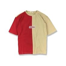 4548599c363c8 Camiseta holgada de manga corta de retales de gran tamaño para hombre  Camiseta Swag Hiphop Street contraste Color Vintage Rap ro.