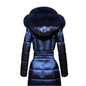 Image 5 - AYUNSUE moda zimowe ocieplane kurtki kobiety kołnierz z futra lisa szczupła ciepła puchowa kurtka kobiet długa Parka panie elegancka odzież wierzchnia z kapturem 754