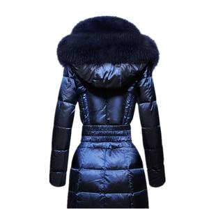 Image 5 - AYUNSUE модная зимняя женская куртка с воротником из лисьего меха, тонкое теплое пуховое пальто, женская длинная парка, женская элегантная верхняя одежда с капюшоном 754