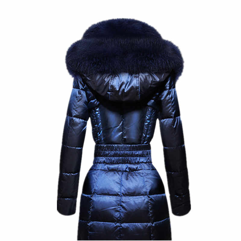 AYUNSUE Модный Зимний пуховик для женщин, Воротник из лисьего меха, тонкий пуховик, Женская длинная парка, женская элегантная верхняя одежда с капюшоном, WYQ754