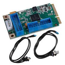 НОВЫЙ Mini PCI-E PCI Express для USB 4 3.0 Порта Адаптер ITX Двойной 20Pin Кабель # D
