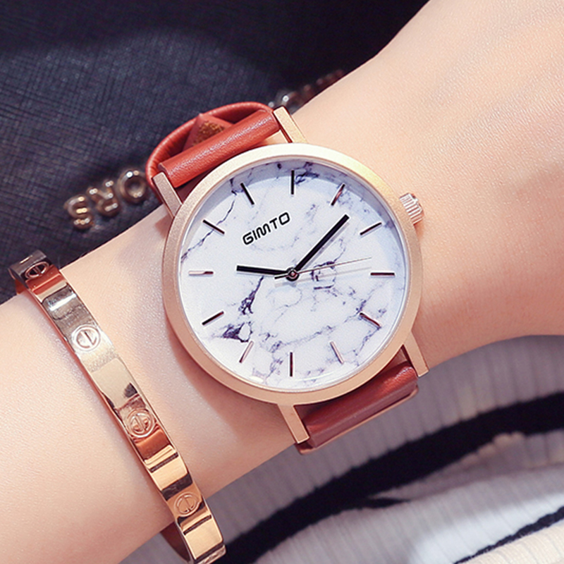 GIMTO Creative Women Watches Luxury Brand Gold Clock Quartz Lovers Ladies Watch Leather Casual Female Girl Wristwatch Relogio selenga t71