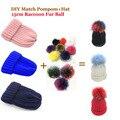 2016 Mulheres de Inverno Jogo Pompoms DIY e Chapéus de Pele De Guaxinim Chapéus 100% Real Grande 15 cm Pompom Pele Pom Gorros Cap Multi-cor da Pele poms