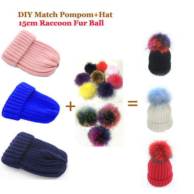 31e2c0f0301 2016 Women Winter DIY Match Pompoms and Hats Raccoon Fur Hats 100% Real Big  15cm Fur Pompom Beanies Cap Multi-color Fur Pom poms