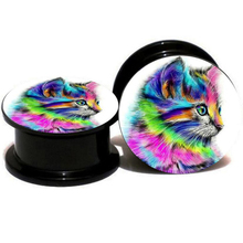 9046f70bb 2 Pieces Fashion Acrylic UV Cute Cat Ear Plugs Earring Gauges Punk Kitty  Ear Plug Taper