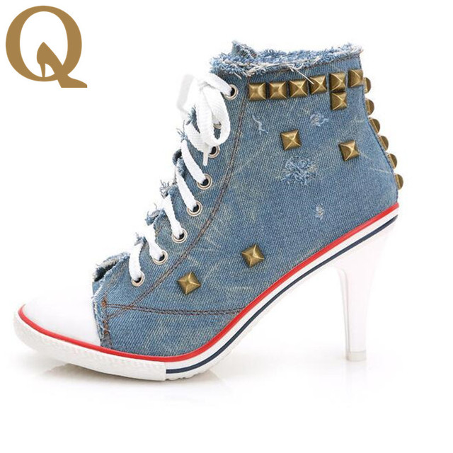 low shipping sale online big discount cheap online New Arrival Autumn Canvas Ankle Boots High Heels casual pumps rivets sexy jeans Shoes Women Denim Canvas websites online yGwL8ns