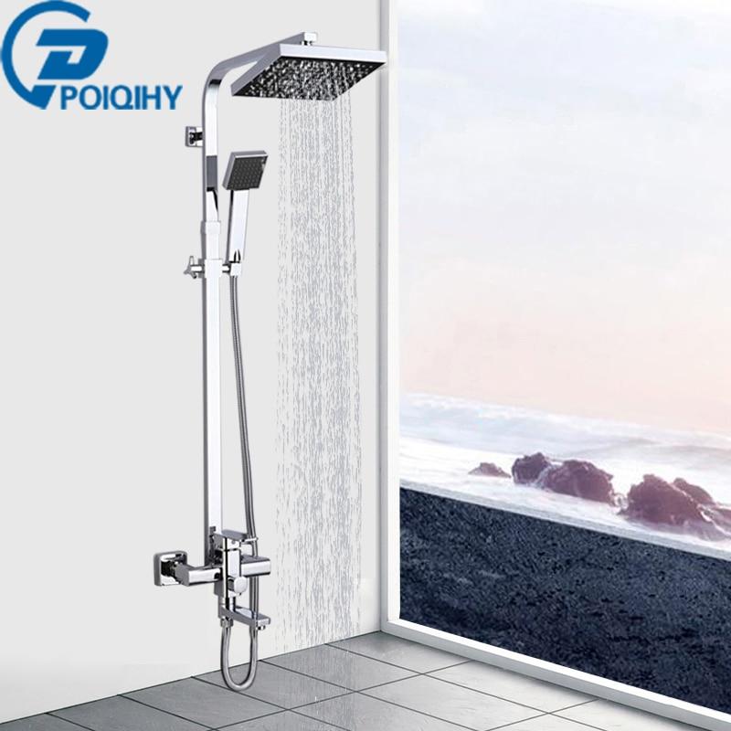Solid Bathroom Shower Faucet Chrome Finish 8 Rain ABS Shower Head Faucet Tub Spout Mixer Tap W/ Plastic Hand Shower Sprayer