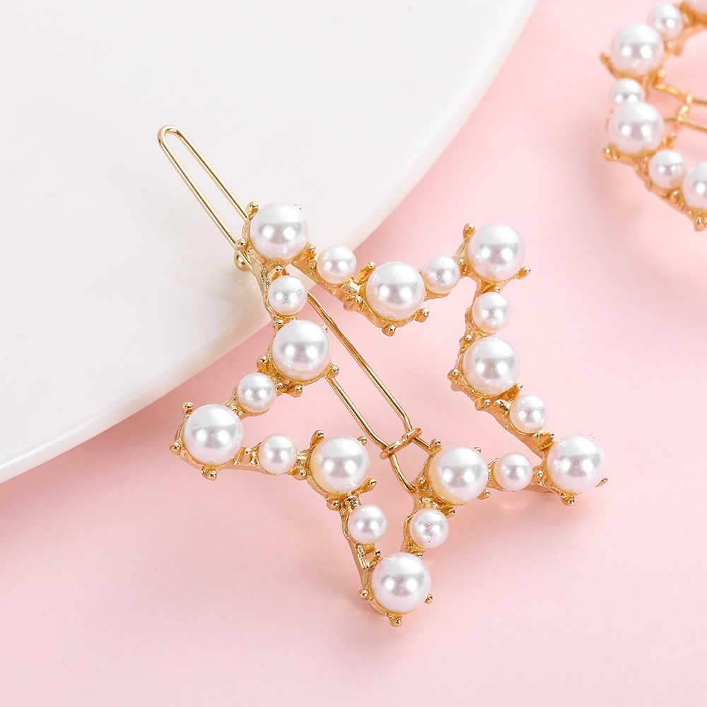 ヘアスタイリングアクセサリーエレガントな真珠ヘアクリップバレッタ女性レディースガールズ金属ヘアピンヘアピン女性真珠のヘアピンクリップ