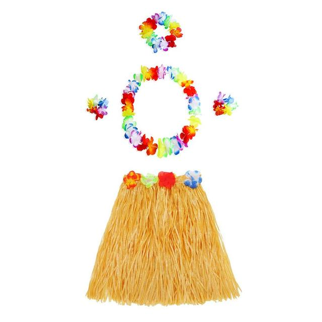 Hawaiian Style Suit Flower Skirt Garland Hula Skirt Dance Party Costume Set Woman Dress Up Hawaii Party Supplies