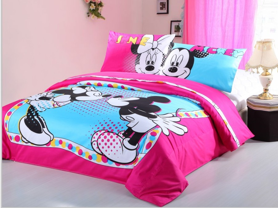 US $72.79 9% OFF|cute magenta mickey and minnie mouse printed bedding sets  for girls childrens home decor Egyptian cotton bed linens duvet covers-in  ...