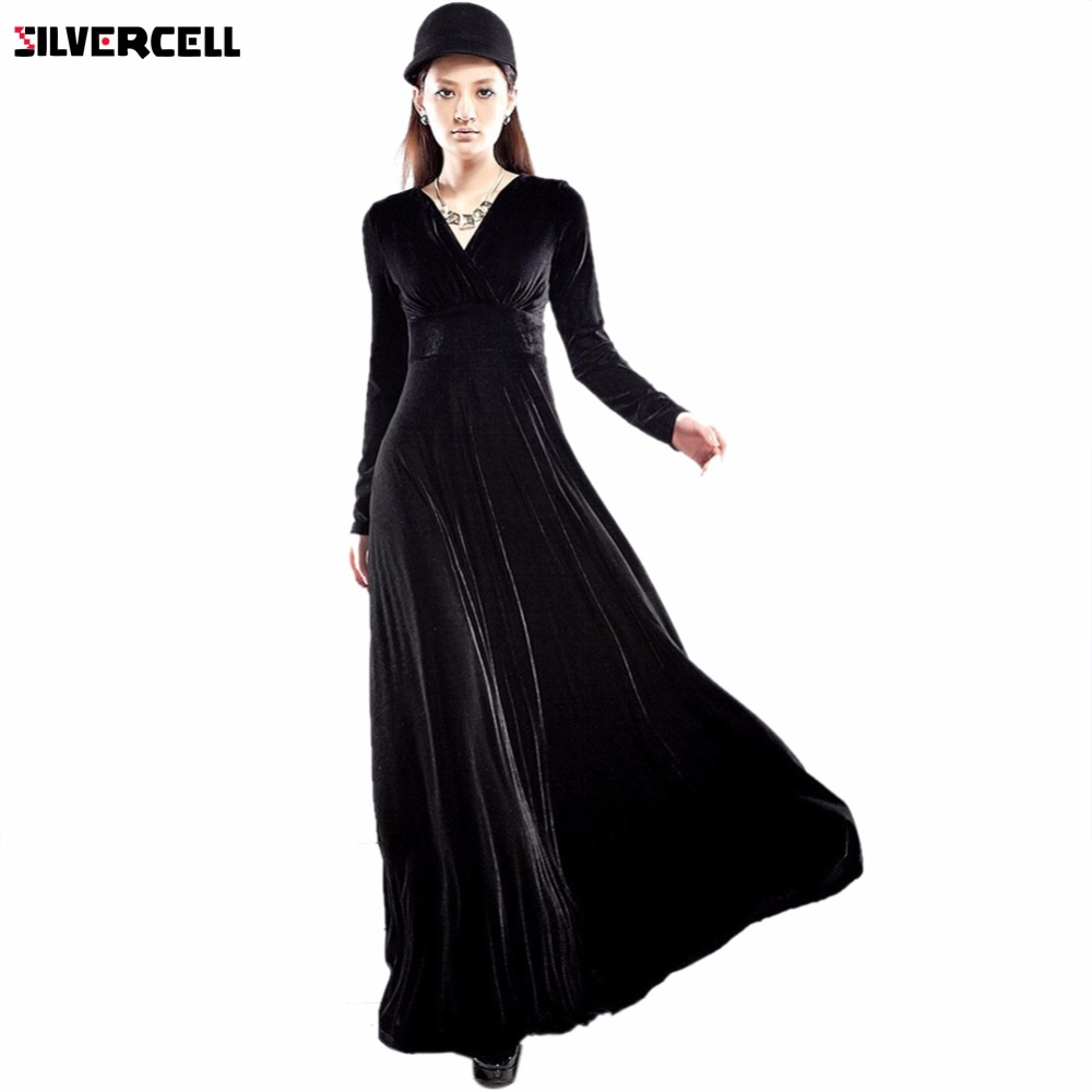 471834d3aa769 مثير أنيقة السيدات المخملية الدافئة الربيع الخريف الكاحل طول فستان ماكسي  لباس المرأة طويلة الأكمام عميق الخامس