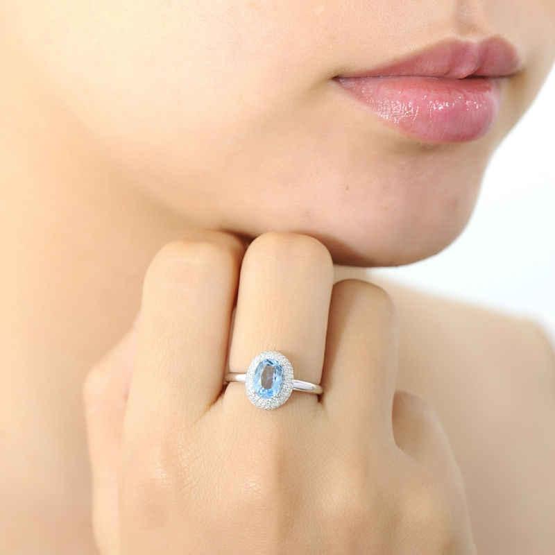 SANTUZZA เงินแหวนแหวนหมั้นแต่งงานแหวนรูปไข่สีฟ้าสีขาว CZ บริสุทธิ์แท้ 925