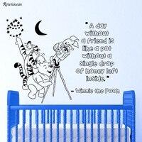 Наклейка на стену котировки Винни-Пух Тигра кролик виниловые наклейки звезды и луна ребенка спальни или детской стены Цитата k515