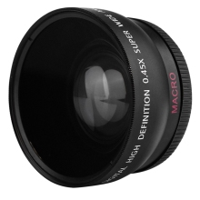 Original Lens Adapter 2-in-1 55MM 0.45X Wide Angle Macro Camera Lens with Two Cap