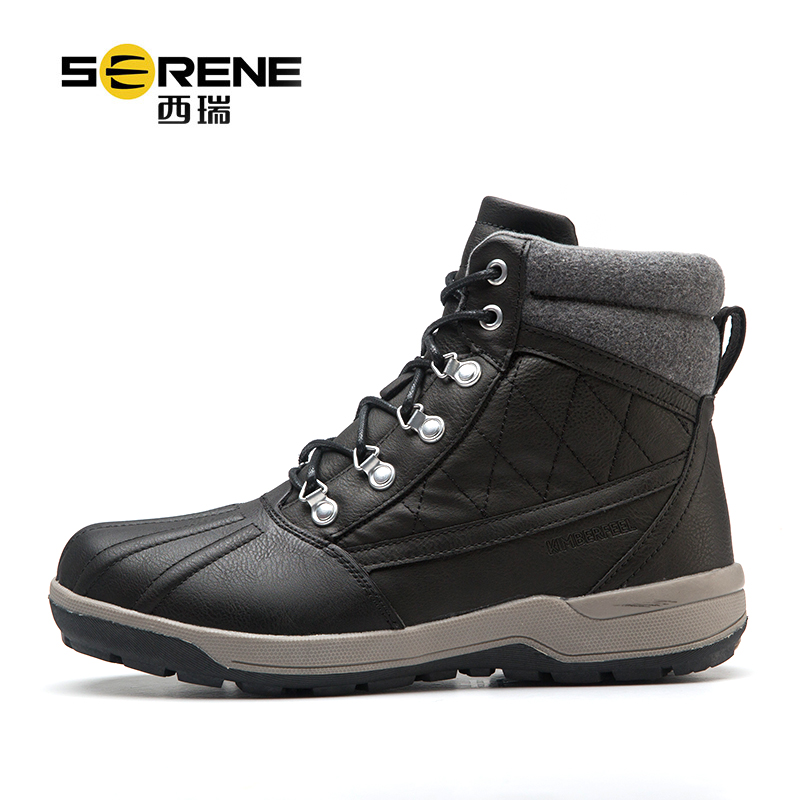 Safety Shoes For Men Boots Waterproof PU Lace-up Causal Footwear Men's Winter Boots Anti-slip Warm Work Shoe Classic Black Shoes best work safety footwear waterproof anti slip overshoes for sea food shop sushi shop men s medical nurising hospital shoes