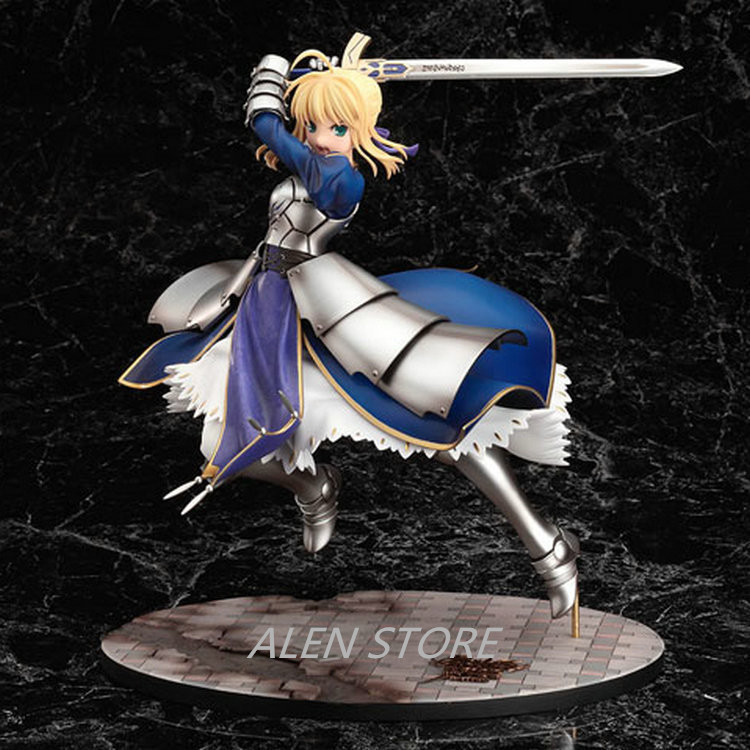 ALEN  Anime Fate Stay Night Saber Lily Excalibur PVC Action Figure Game Figure Model Collection Figure Toy Brinquedos alen new hot fate stay night racing girl black blue white saber throne pajamas action figure toys collection christmas gift doll