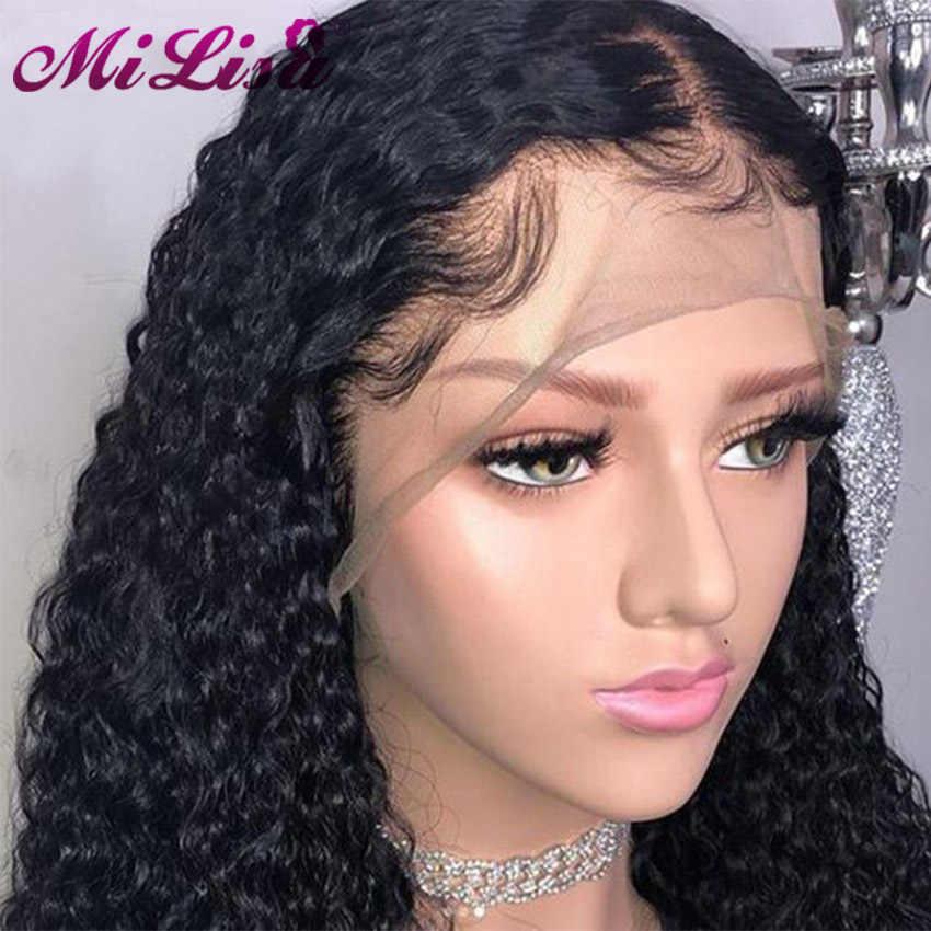 Кудрявые человеческие волосы парики предварительно сорванные с волосами младенца Mi Lisa Remy перуанские парики бесклеевая кружевная Передняя человеческие волосы парики для черных женщин
