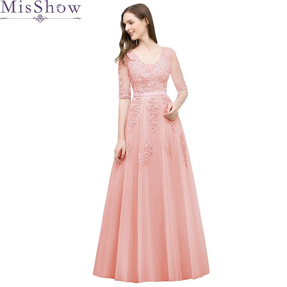 Appliques robes de bal perle rose manches courtes dentelle longueur de plancher une ligne robe pas cher femmes col en V soirée formelle longue robe de bal