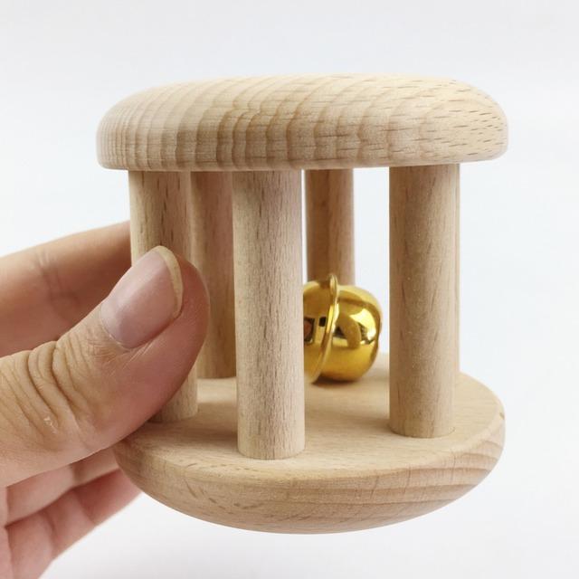 Brinquedos De Madeira Brinquedo Chocalho Do Bebê orgânico Natural Rolamento Clássico Brinquedo De Madeira Montessori Infantil Do Presente Do Bebê brinquedos de madeira