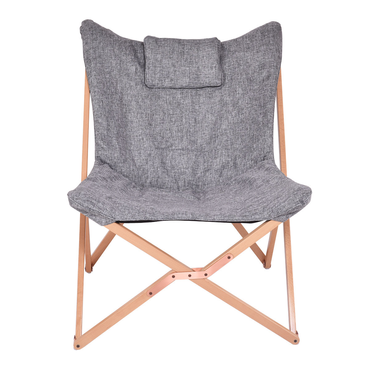 Giantex Home Outdoor Folding Butterfly Chair Seat Wood Frame Gray Portable  Chairs Living Room Furniture HW54442 In Living Room Chairs From Furniture  On ...