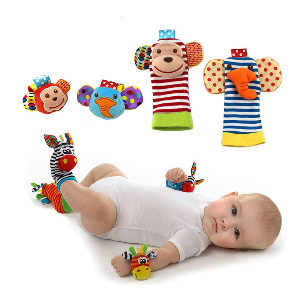 Cartoon Rattles Wrist Strap Animal Socks Toy New Baby Infant Soft Handbells Hand Foot Developmental Toy Foot Socks 0~24 Months