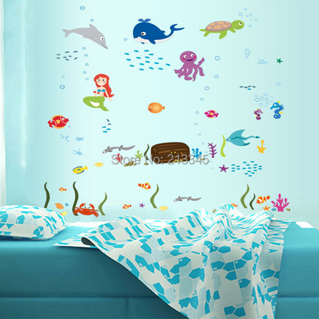 fundecor waterproof removable cartoon wall sticker home decor for kids room children bathroom decals animal octopus