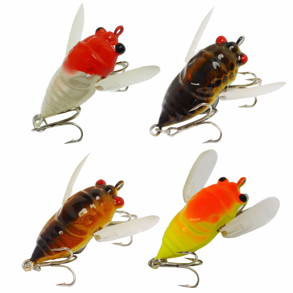 4pcs/set Locust Insects Fishing Lures 5cm/6.6g Fly Fishing Flies Set Hard Bait Artificial for Pike Trout pesca wldslure 1pc 54g minnow sea fishing crankbait bass hard bait tuna lures wobbler trolling lure treble hook