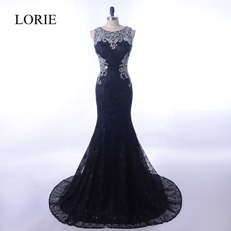 Vintage Lace Black Mermaid   Evening     Dress   2018 LORIE Luxury Crystals Elegant Women Long Prom   Dresses   Robe Formal Party Gowns