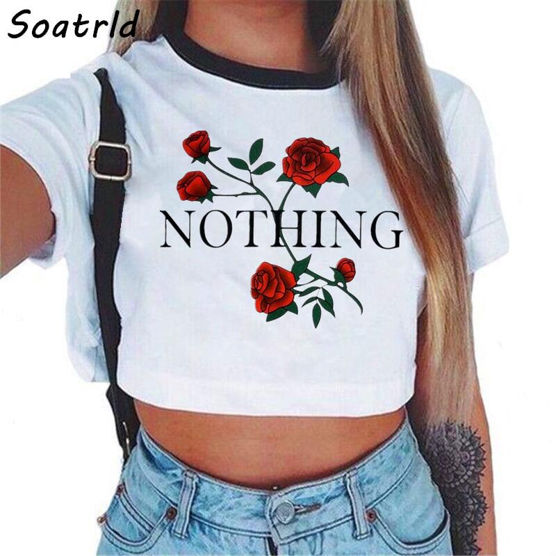 Для женщин ничего письмо розы укороченный Топ короткий рукав футболки Новый Женский Бренд Повседневное летние футболки женские футболки милый укороченный топ