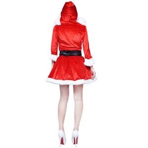 Image 3 - New Arrival sukienka świąteczna kobiety kostium na boże narodzenie dla dorosłych 2017 czerwone aksamitne futro sukienki z kapturem Sexy kobiet kostium świętego mikołaja