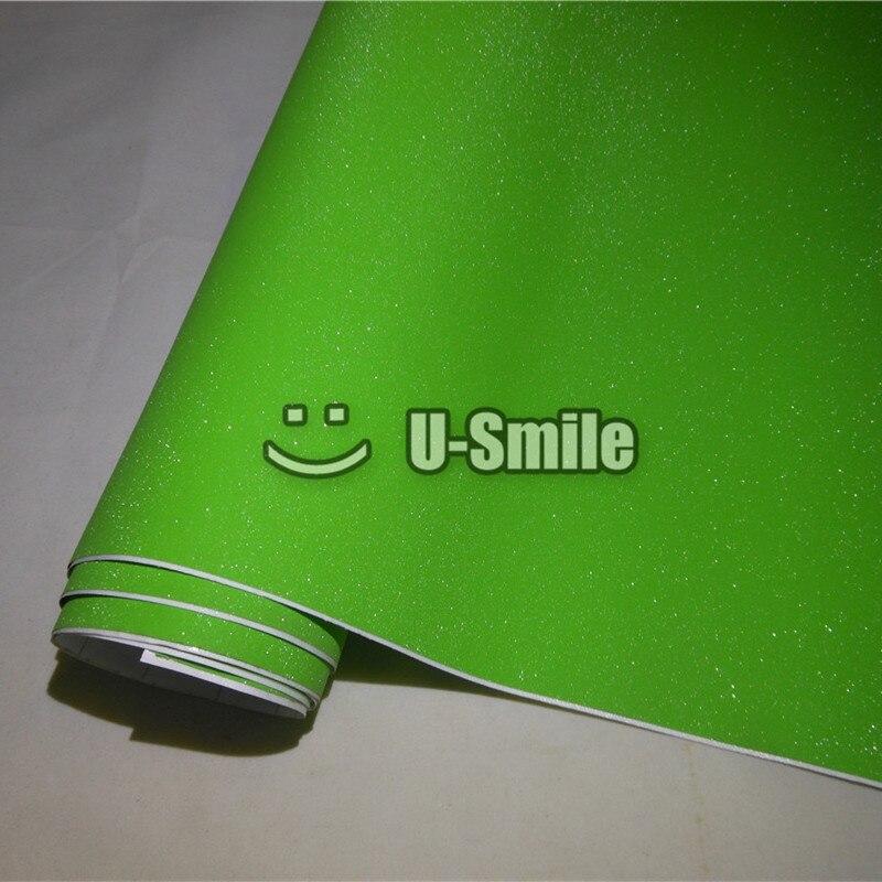 Haute qualité vert pomme Bling diamant sable vinyle Wrap rouleau bulle gratuit pour téléphone autocollant pour ordinateur portable taille de couverture: 1.52*30 M