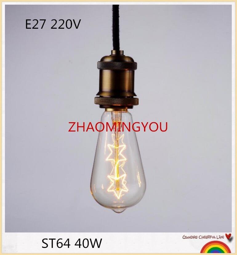 Light Bulbs Led Bulbs & Tubes Considerate 1pcs Edison Bulbs St64 E27 40w 220v Pentagram Incandescent Bulbs 40w St64 Filament Retro Edison Light For Pendant Lamp