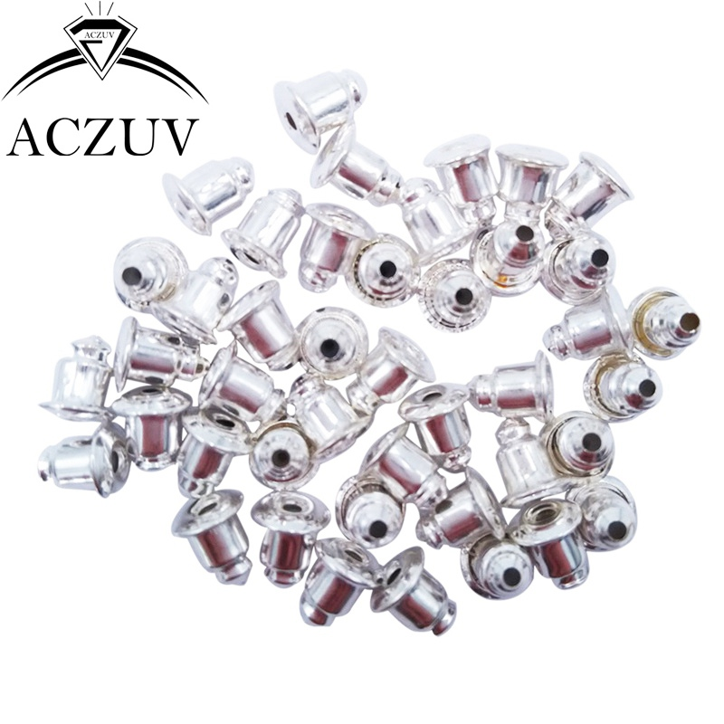 30Pcs Earring Backs Clip Stud Stopper Backs Dull Silver Finish 11mm*6mm Plastic