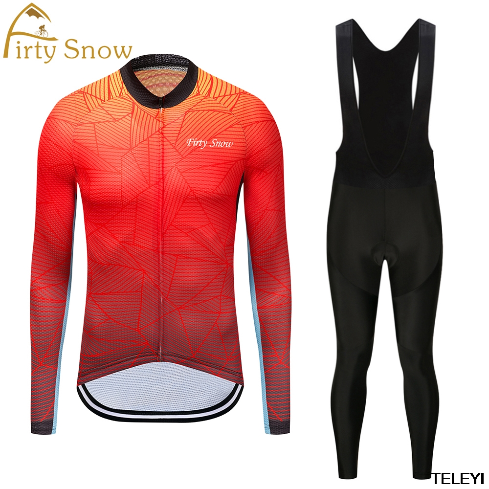 firty snow 2Spring Summer Men s Long Sleeve Cycling Jersey Sets Breathable 4D Padded Bicycle Sportswear