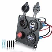 car marine boat 4  hole aluminum switch Panel plate12-24V Blue Voltmeter Cigarette Lighter Dual USB Adapter Charge цена 2017