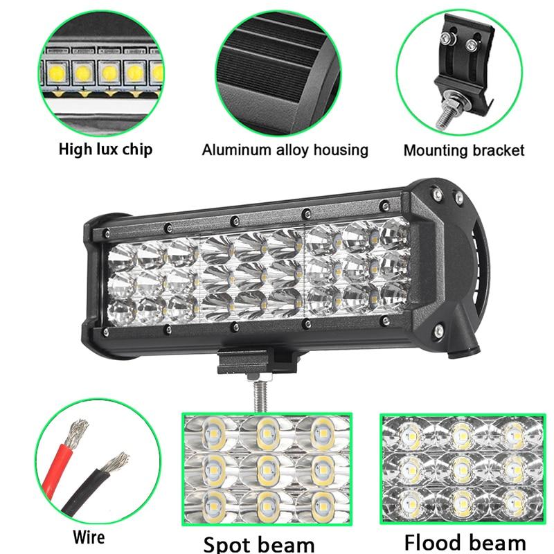 2ps 4 6.5 9 Tri Row Led Light Bar Spot Flood Offroad Led Work Driving Lihgt 12v 24v Fog Lamp Reversing Headlight Truck Pickup