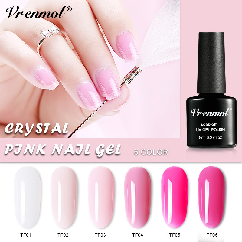 Vrenmol 1pcs French Nude Pink Series Nail Polish Nail Art Tips Design UV Gel Varnish Transparent Nail Glue Need Top Base Coat