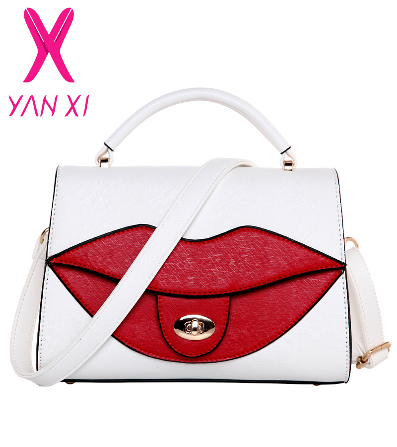 YANXI new Popular Big Lips Pattern Women Lady Clutch Chain Shouder Bag White red Shape pu