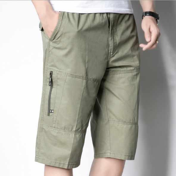 2019 pantalones cortos de algodón de verano para hombre, pantalones cortos de carga hasta la rodilla, pantalones cortos casuales para hombre, pantalones cortos holgados de talla grande para hombre