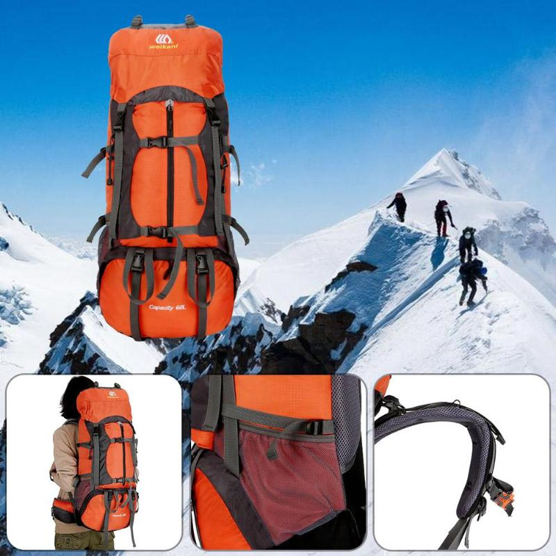 цена на WEIKANI 60L Waterproof Outdoor Softback Camping Hiking Climbing Unisex Travel Mountaineering Backpack bag nylon luggage bags