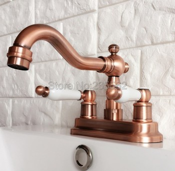 Antique Red Copper Swivel Spout Bathroom Basin Faucet Vessel Sink Faucets Dual Handle Cold and Hot Water Mixer Taps lrg048