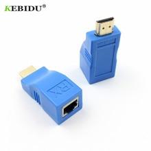Kebidu HDMI удлинитель 4k RJ45 Порты LAN сеть HDMI Расширение до 30 м по CAT5e/6 UTP LAN Ethernet кабель для HDTV HDPC