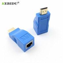 Kebidu HDMI Extender 4k RJ45 Ports LAN réseau HDMI Extension jusquà 30m sur CAT5e/6 UTP LAN Ethernet câble pour HDTV HDPC