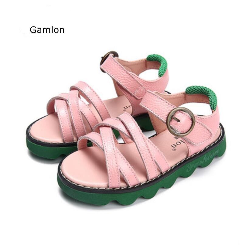 Gamlon взуття для дівчаток Натуральна шкіра сандалі 2017 Нова мода стиль Літні дівчата діти Діти принцеса взуття пляж коров'ячої