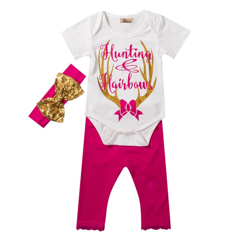3Pcs Toddler Newborn Baby Girls Clothes Kids Cotton Letter Sequins Print Rompers+Pink Lace Pants+Headband Outfits Set Clothing