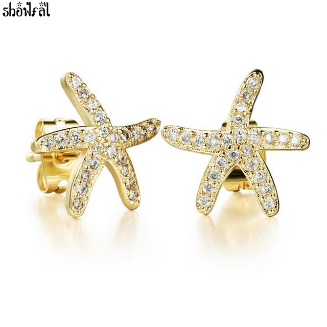 Crystals From Swarovski Silver Gold Color Starfish Earring Charm Ocean Star Cubic Zircon Stud