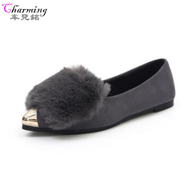 2017 Fashion Women Shoes Woman Flats high quality fur Casual Comfortable pointed toe Rubber Women Flat Shoe Hot Sale NEW ALF524 kbstyle 2017 new spring shoes for women brand pointed toe womens flats fashion young ladies casual shoes hot sale wholesale