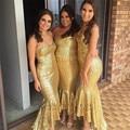 Sexy sereia vestidos dama de honra lantejoulas de ouro faísca moda alta baixa vestido de festa de casamento 2016 mais novo do querido elegante