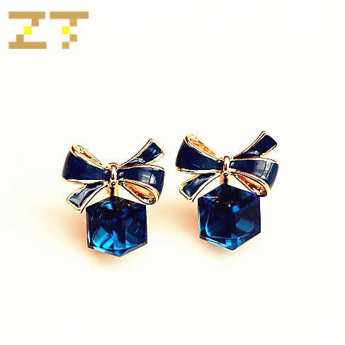 Hot Sale Fashion Stereoscopic Square Green Crystal Pendant Blue White Bowknot Stud Earrings for Women Jewelry Brincos Oorbellen
