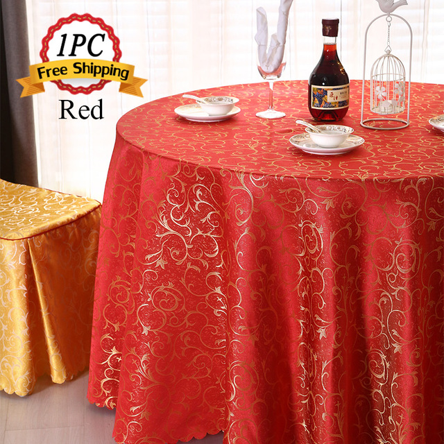 big discount 1pc fancy all size polyester table cover jacquard damask table cloth for wedding favor - Discount Table Linens